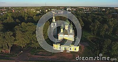 Uglich, Ryssland, syn på Kreml ovanifrån flyg arkivfilmer