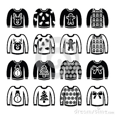 Free Ugly Christmas Sweater On Jumper Icons Set Stock Image - 43712211