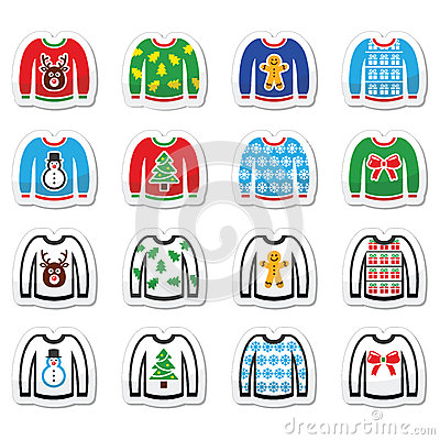 Free Ugly Christmas Sweater On Jumper Icons Set Royalty Free Stock Photo - 45088025