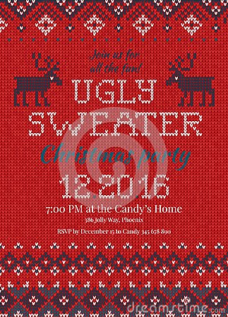 Free Ugly Sweater Christmas Party Invite. Knitted Background Pattern Scandinavian Ornaments. Royalty Free Stock Image - 100126116