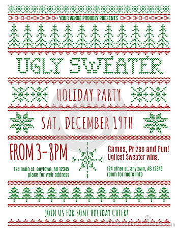Free Ugly Sweater Party Invitation Royalty Free Stock Images - 61581169