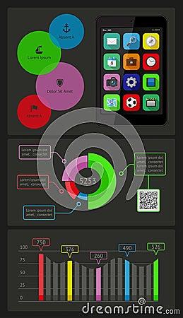 Ui、infographics和网元素包括平的d