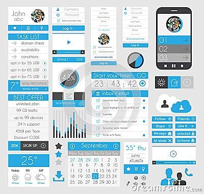 UI Flat Design Elements for Web, Infographics,
