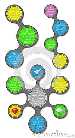 Элементы Ui, infographics и сети включая плоский d