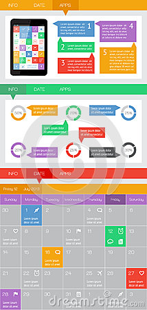 Ui, infographics en Webelementen met inbegrip van vlak ontwerp