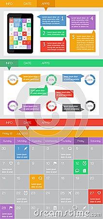 Ui, infographics- och rengöringsdukbeståndsdelar inklusive plan design