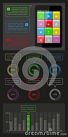 Ui, infographics- och rengöringsdukbeståndsdelar inklusive plant D