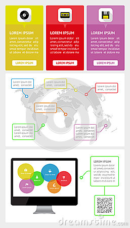 Ui, infographics and web elements including flat d