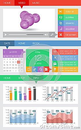 Ui y elementos del web incluyendo diseño plano