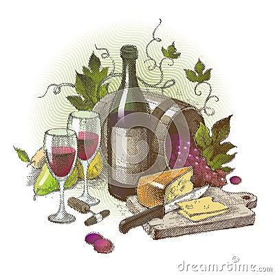 Uitstekend stilleven met wijn