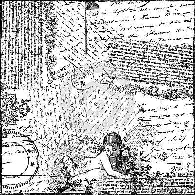 Uitstekend van de Collage van de Tekst Victoriaans Document Als achtergrond