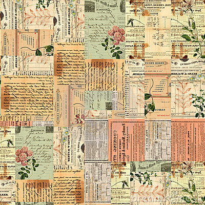 Uitstekende document efemere verschijnselen, tekst en bloemencollage