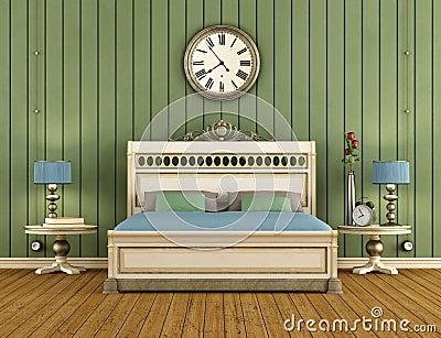 Uitstekende Slaapkamer Met Het Groene Muur Met Panelen Bekleden Stock ...