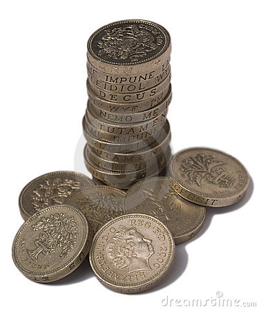 UK £1 coins isolated