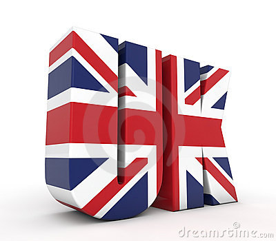 UK 3d text with flag