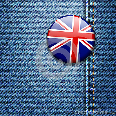 UK British Flag Badge on Denim Fabric Texture
