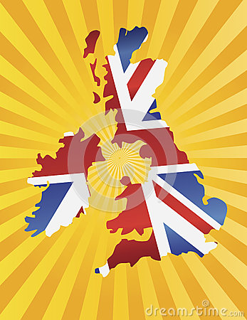 UK England Flag Map with Sun Rays