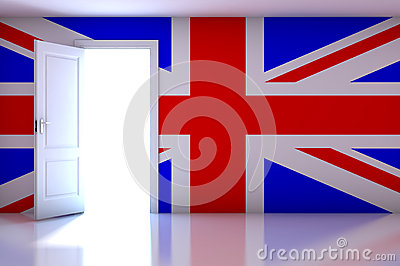 UK flag on empty room