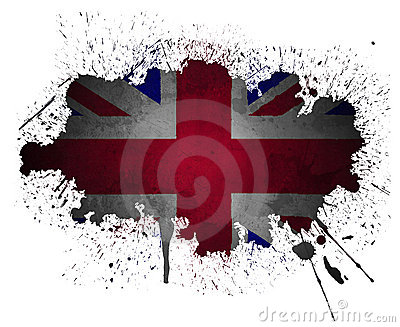 UK flag grunge paint splatter