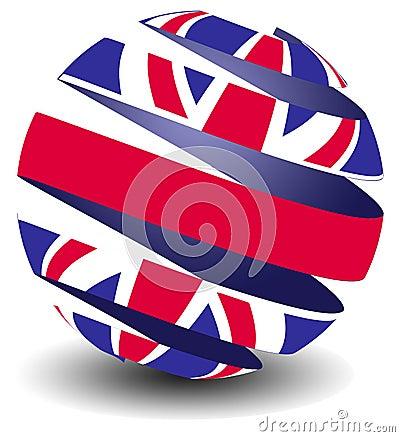 UK flag with peel effect