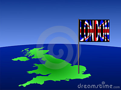 UK with London flag