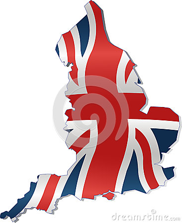 UK Map with British Flag