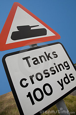 UK Road Sign - Tanks Crossing