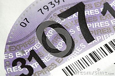 UK road tax disc