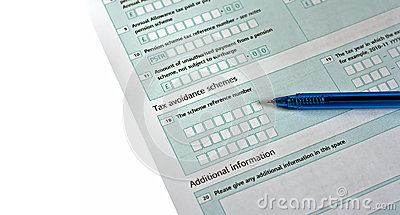 UK tax return form with pen