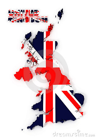 UK, United Kingdom map with flag, isolated