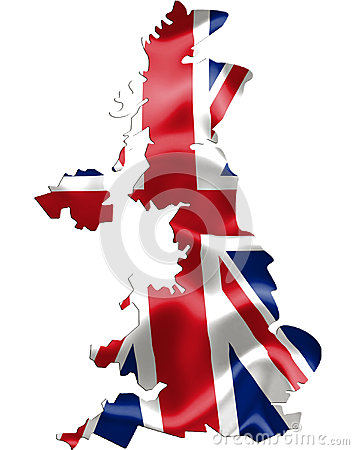 Free UK United Kingdom Map With Flag Royalty Free Stock Image - 43055476