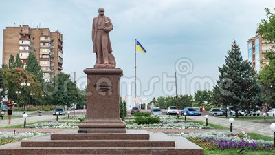 Ukraine, the city of Melitopol, a monument to Taras Shevchenko. Timelapse. Ukraine, the city of Melitopol, August 2019. In the center of the city there is a stock video footage