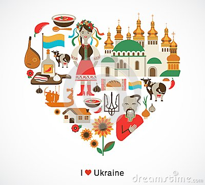 Ukraine love - heart with icons and elements