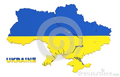 Ukraine, map with flag, isolated, clipping path