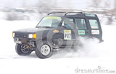 Ukraine Racing Team s crew rides over snow track Editorial Image