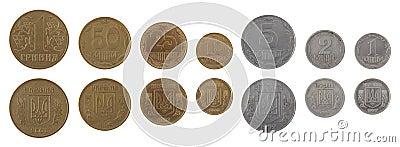 Ukrainian Coins Isolated on White