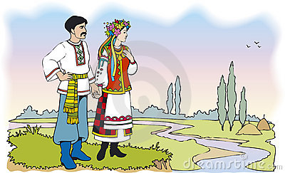 Ukrainian couple in colorful national costumes