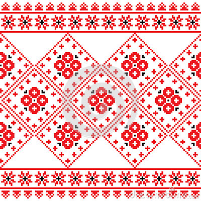 Ukrainian, Eastern European folk art embroidery pattern or print