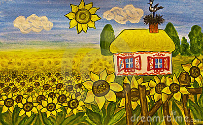Ukrainian house (house with sunflowers)
