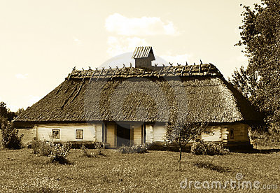 Ukrainian house in sepia