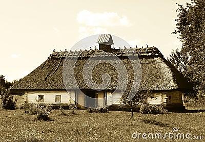 Ukrainian house in sepia
