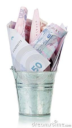 Free Ukrainian Hryvnia In Bucket Stock Photography - 54022242