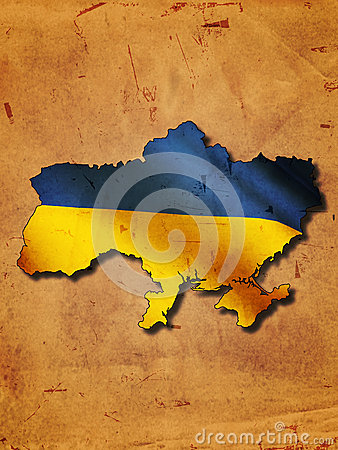 Ukrainian map with flag