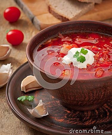 Ukrainian National Red Soup Borsch Royalty Free Stock Image - Image ...