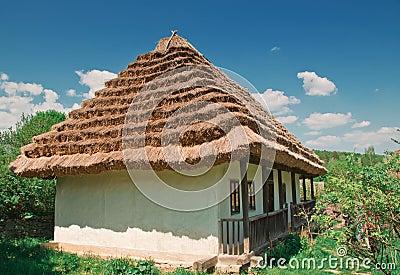 Ukrainian old log hut
