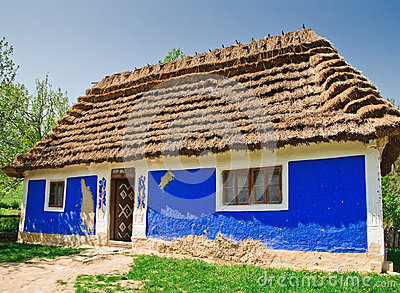 Ukrainian old log hut