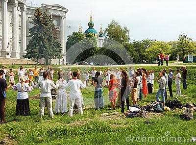 Ukrainian pagan people are praying to Perun,god of Thunder ,Kiev,Ukraine Editorial Stock Photo