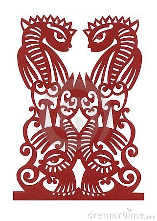 Ukrainian paper cutting  Four Fishes