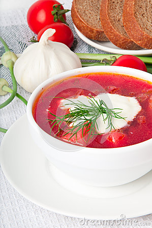 Ukrainian and russian national borsch