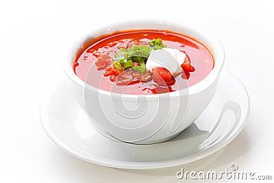 Ukrainian and russian national red soup-borsch